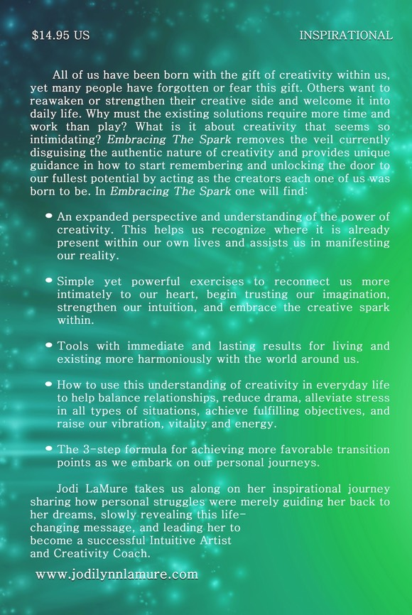 The back cover of Jodi LaMure's book Embracing the Spark.