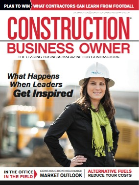 Cover of December 2013 Construction Business Owner magazine featuring Client Success Stories article by Karen Newcombe.